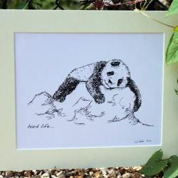Original art illustrative print, Panda (10&quot; x 12&quot;)
